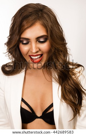 Beauty woman red lips and smile