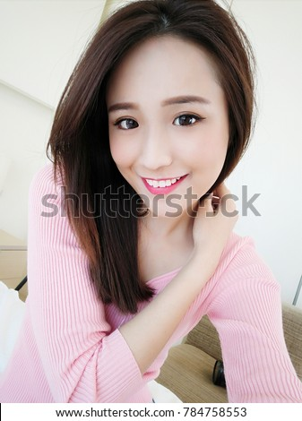 beauty woman selfie happily in the home