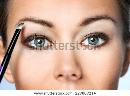 Beauty Woman. Skincare concept. Beauty Face. Beauty concept.Makeup Applying. Professional Make-up.Beauty Fashion Girl Applying eye shadows. - stock photo