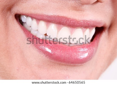 Beauty woman smile close up, white teeth