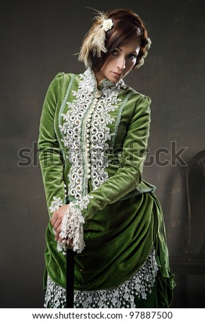 Beauty woman wearing old dress