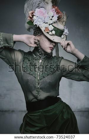 Beauty woman wearing old fashioned dress - stock photo