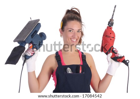 Beauty woman with auger and sander on white background