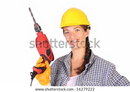 Beauty woman with auger on white background - stock photo