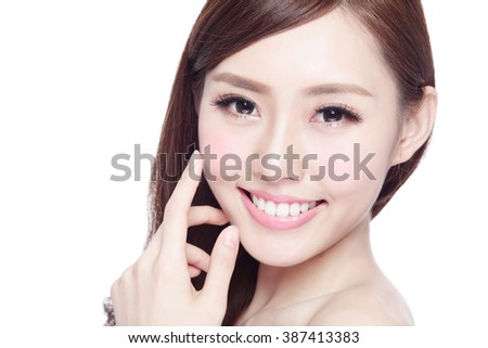 Beauty woman with charming smile to you with health skin, teeth and hair isolated on white background, asian beauty