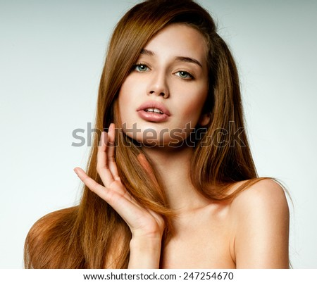 Beauty Woman with  Long Brown Hair.Gorgeous Hair. - stock photo