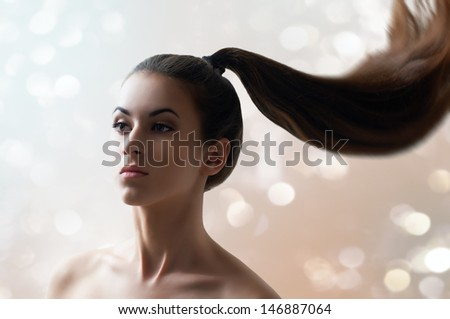 beauty woman with long hair - stock photo
