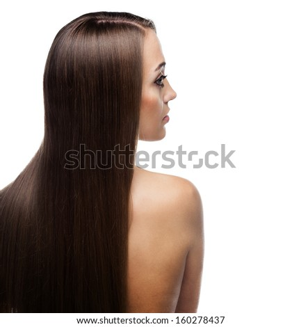 beauty woman with long hair over white background