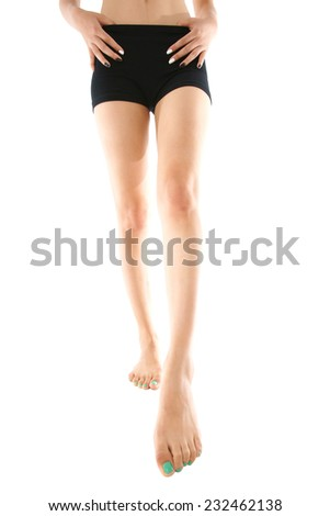 Beauty woman with long legs on white