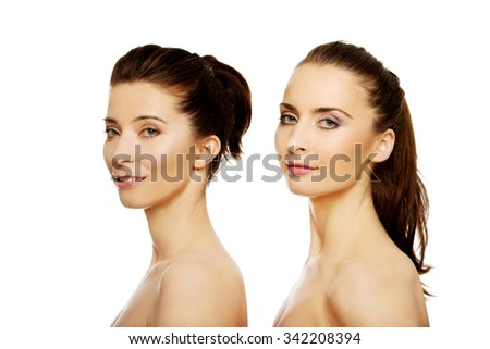 Beauty woman with make up standing behind her friend.