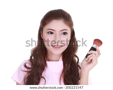Beauty woman with Makeup Brush isolated on white background