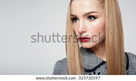 Beauty woman with red lips