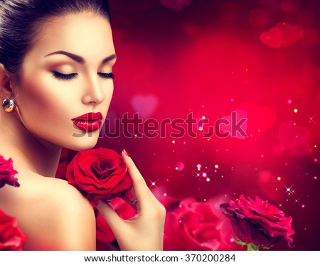 Beauty woman with Red Rose. Valentine. Red Lips and Nails. Beautiful Luxury Makeup and Manicure. Valentine's Day border design. Portrait of fashion model girl over blurred red background - stock photo
