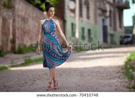 Beauty Women Walking on the street. outdoors shot - stock photo