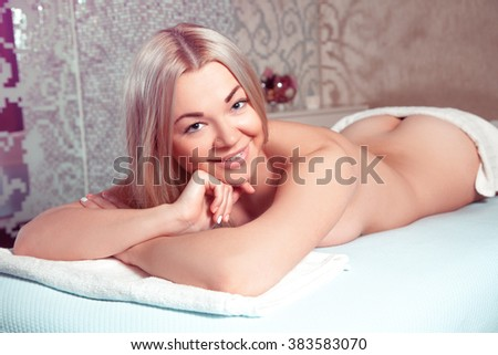 Beauty young blonde girl relaxing in spa salon. Beautiful blonde relaxing in spa. health, beauty, resort and relaxation concept