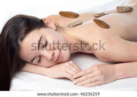 beauty young girl  day spa on white background - stock photo