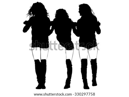 Beauty young girls on white background - stock photo