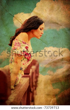 beauty young retro woman, vintage pattern - stock photo