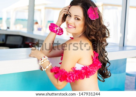 beauty young woman on the beach bar - stock photo