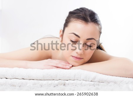Beauty Young Woman Relax ready for skincare treatment. Spa Wellness Caucasian female Lifestyle concept.  - stock photo