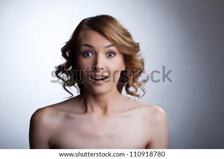 Beauty young woman studio portrait - stock photo
