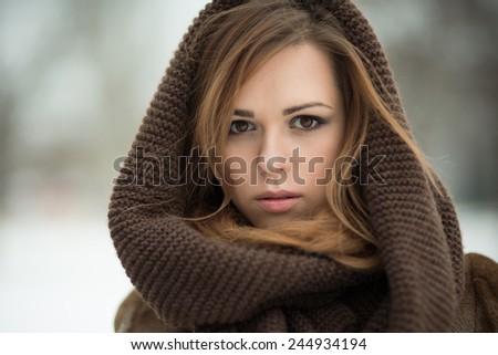 beauty young woman. winter portrait - stock photo