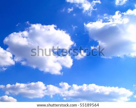 Beautyful blue sky with fleecy cloud - stock photo