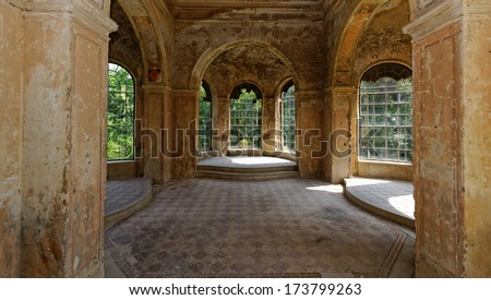 beautyful interior in a ruined castle with windows