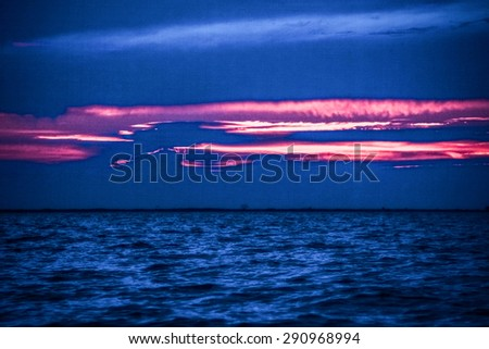 Beautyful Morning Cloud On Magenta Sky Over The Sea , Sunrise At Summer Time. - stock photo