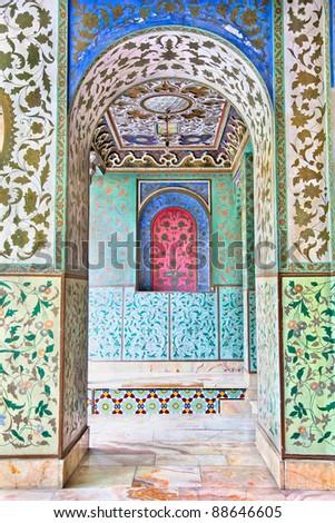 Beautyful mosaic walls of Golestan  palace, Tehran, Iran - stock photo
