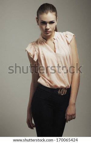 beautyful young woman portrait - stock photo