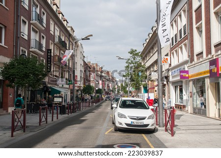BEAUVAIS, FRANCE - CIRCA SEPTEMBER 2014: one of the streets of the city Beauvais  circa September 2014 in Beauvais.