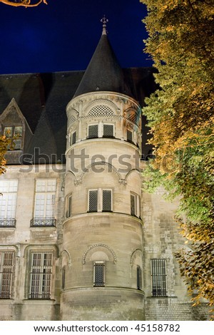 Beauvais (Oise, Picardie, France) - Historic palace at night, exterior