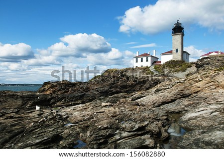 Beavertail Lighthouse is Connecticut's second oldest lighthouse. - stock photo