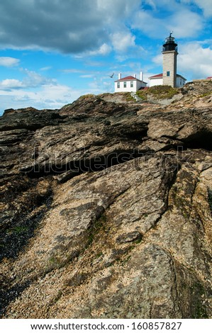 Beavertail Lighthouse is Connecticut's second oldest lighthouse, sitting atop a scenic rock formation enjoyed by many visitors.