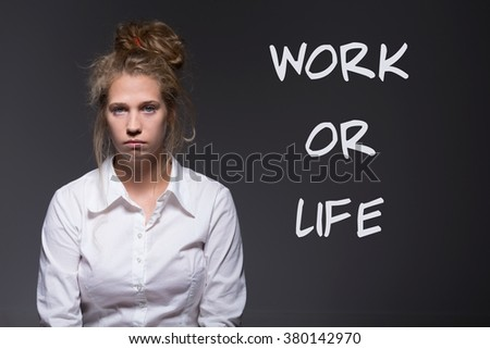 Because of work young woman does not have time  - stock photo