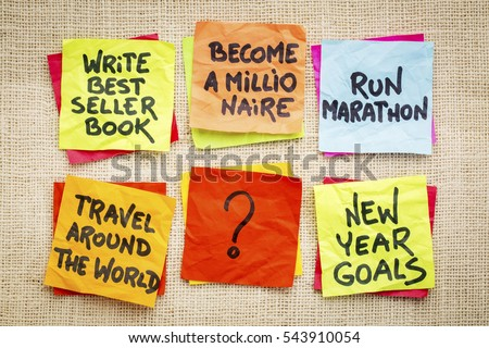 become a millionaire and other unrealistic new year goals or resolutions - colorful sticky notes on canvas