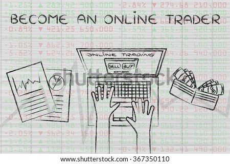 become an online trader: computer user with wallet and stats on stock market data - stock photo
