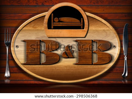 Bed and Breakfast - Sign with Bed and Cutlery / Oval wooden sign with text B&B (Bed and Breakfast) and silver cutlery on a brown wooden wall. - stock photo