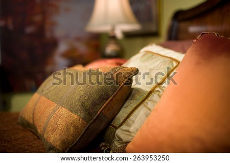 Bed closeup in Bedroom Suite  - stock photo