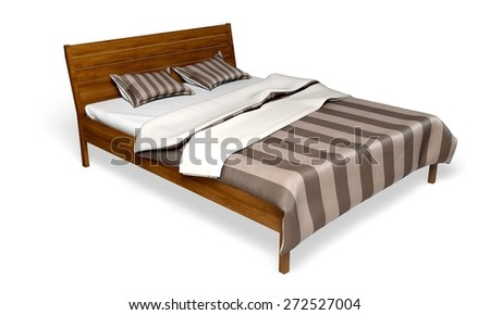 Bed. 3D. Brown wooden bed isolated on white background - stock photo