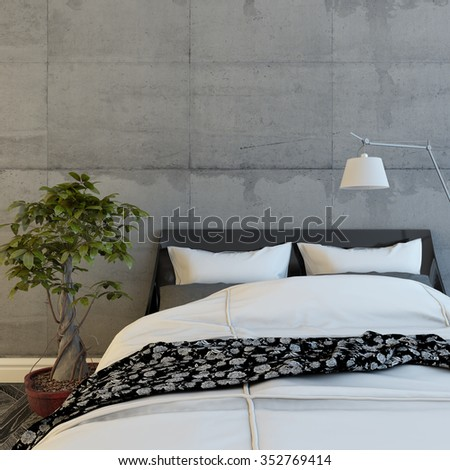 Bed In A Modern Concrete Room 3d Rendering