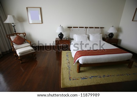 bed in luxury hotel
