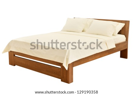 bed isolated on white - stock photo