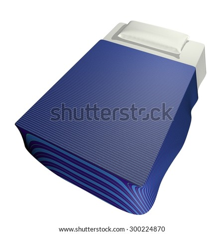 Bed isolated over white, square image, 3d render - stock photo