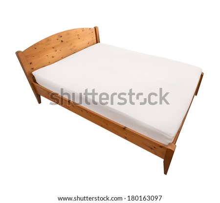 Bed isolated with wood frame