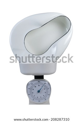 Bed pan in a basket scale used to weigh items - path included - stock photo