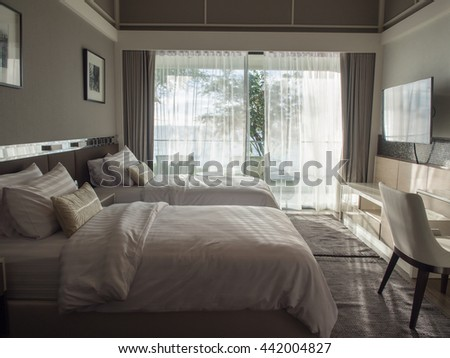 Bed room with morning light from the sea (Lighten up the dark room)