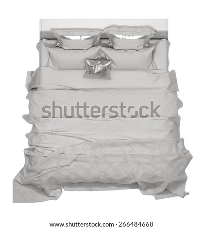Bed top view - stock photo