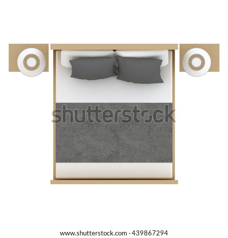 Bed Top View 3D Illustration You May Find This Object With Different Colors In My